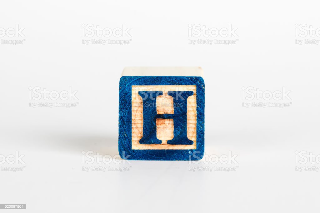LETTER H alphabet cubes font stock photo