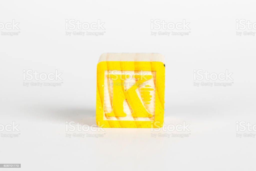 LETTER K alphabet cubes font stock photo