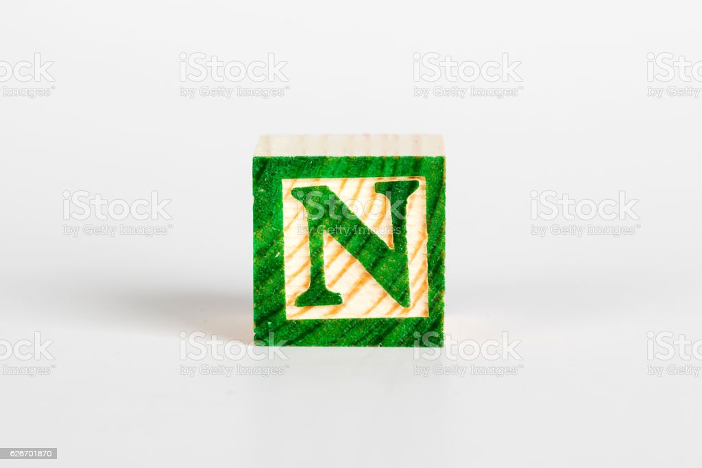 LETTER N alphabet cubes font stock photo