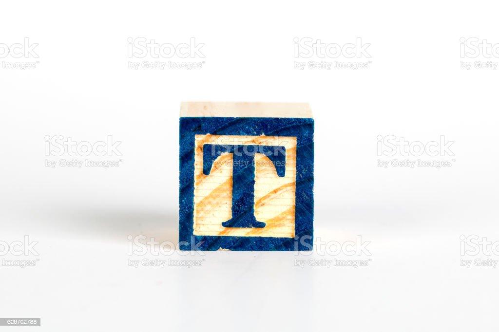 LETTER T alphabet cubes font stock photo