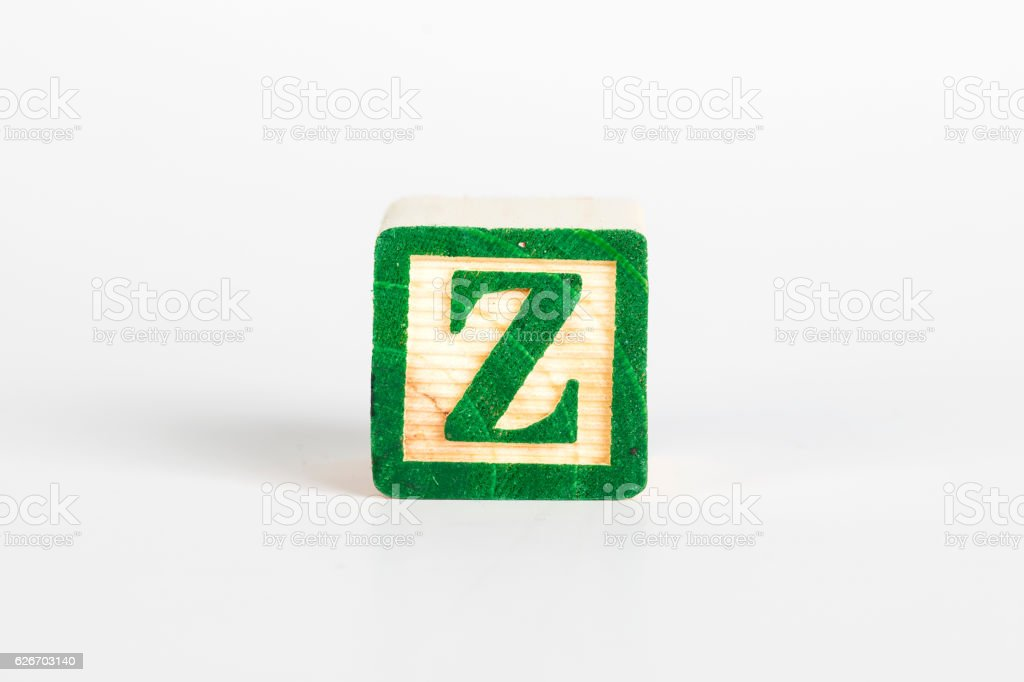 LETTER Z alphabet cubes font stock photo