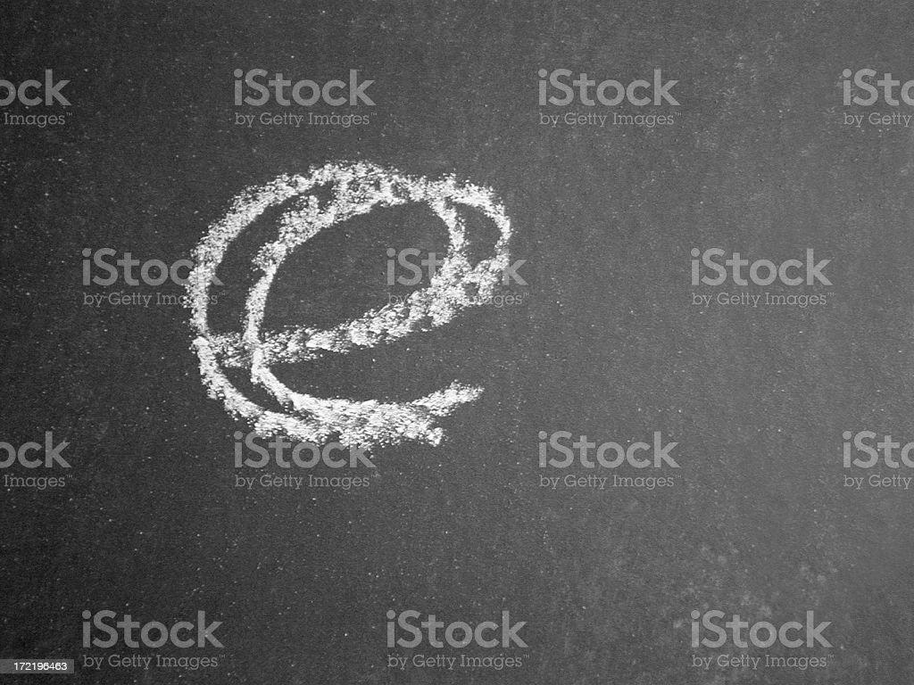 Alphabet - e - Chalk stock photo