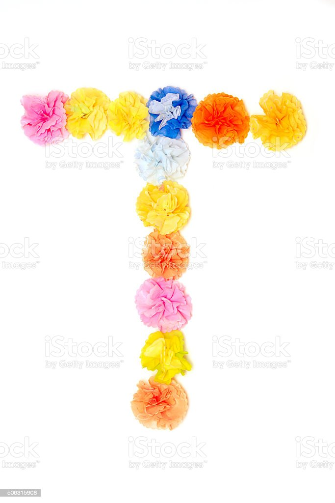 """T"" Alphabet flowers made from paper craftwork stock photo"