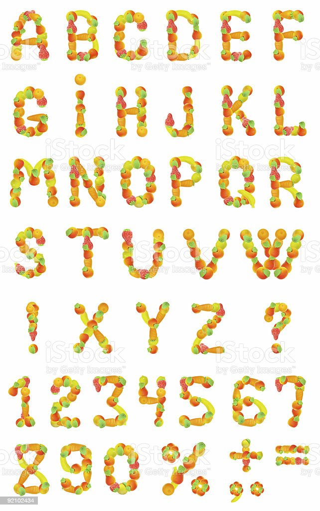 alphabet from fruit on a white background royalty-free stock photo
