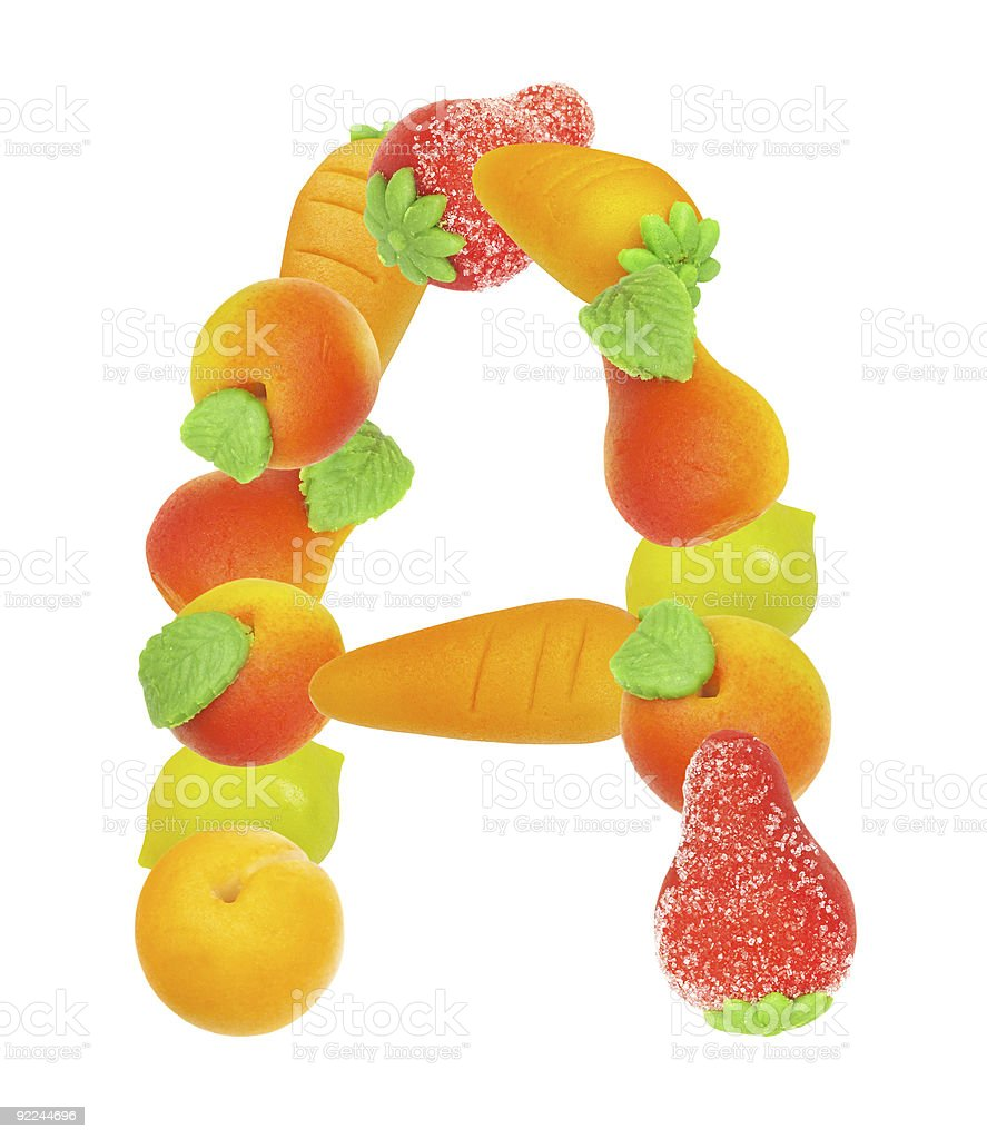 alphabet from fruit, the letter A royalty-free stock photo