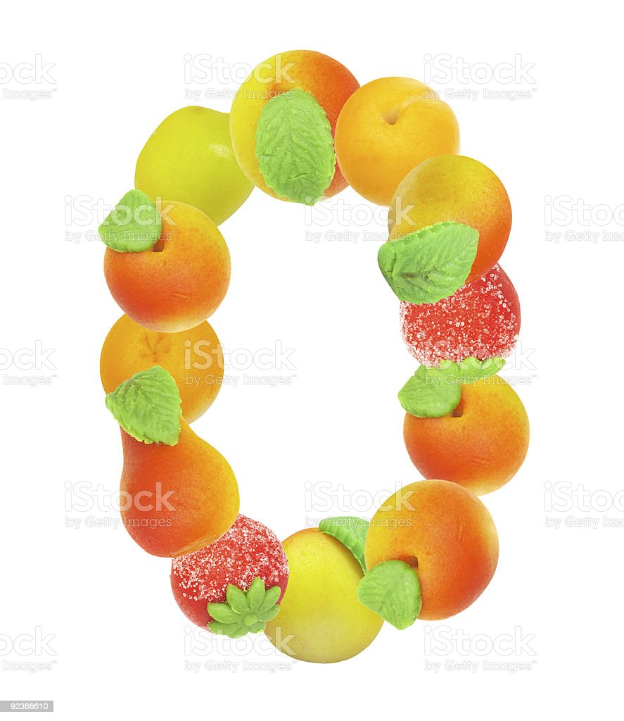 alphabet from fruit, the number 0 royalty-free stock photo