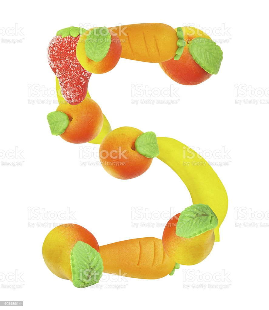 alphabet from fruit, the number 5 royalty-free stock photo
