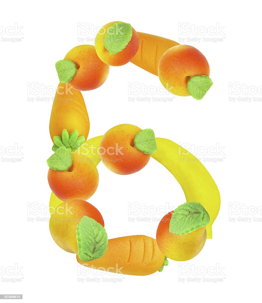 alphabet from fruit, the number 6 royalty-free stock photo