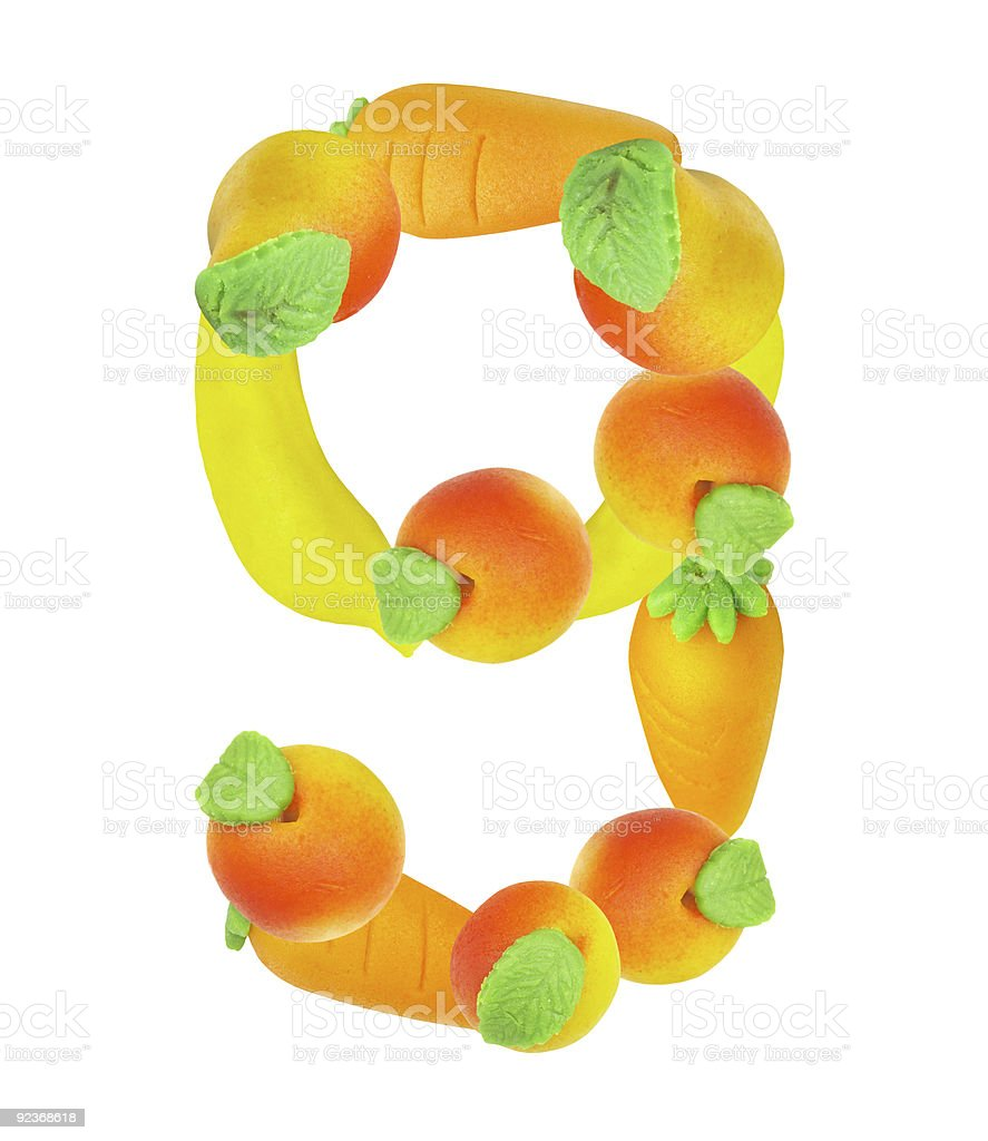 alphabet from fruit, the number 9 royalty-free stock photo