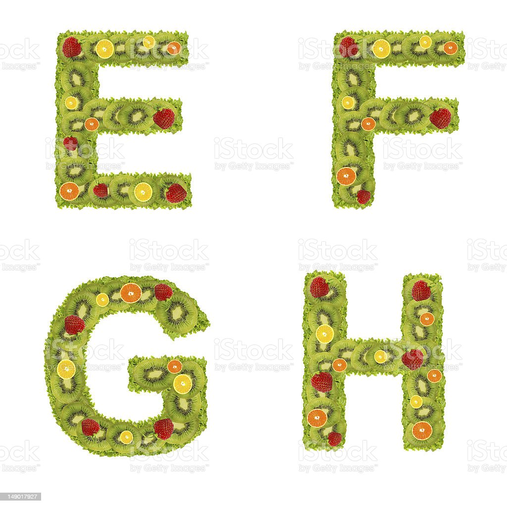 Alphabet from fruits royalty-free stock photo