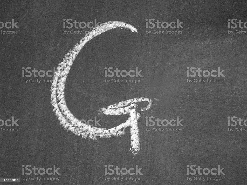 alphabet - G - Chalk stock photo