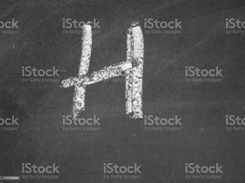 alphabet - H - Chalk royalty-free stock photo