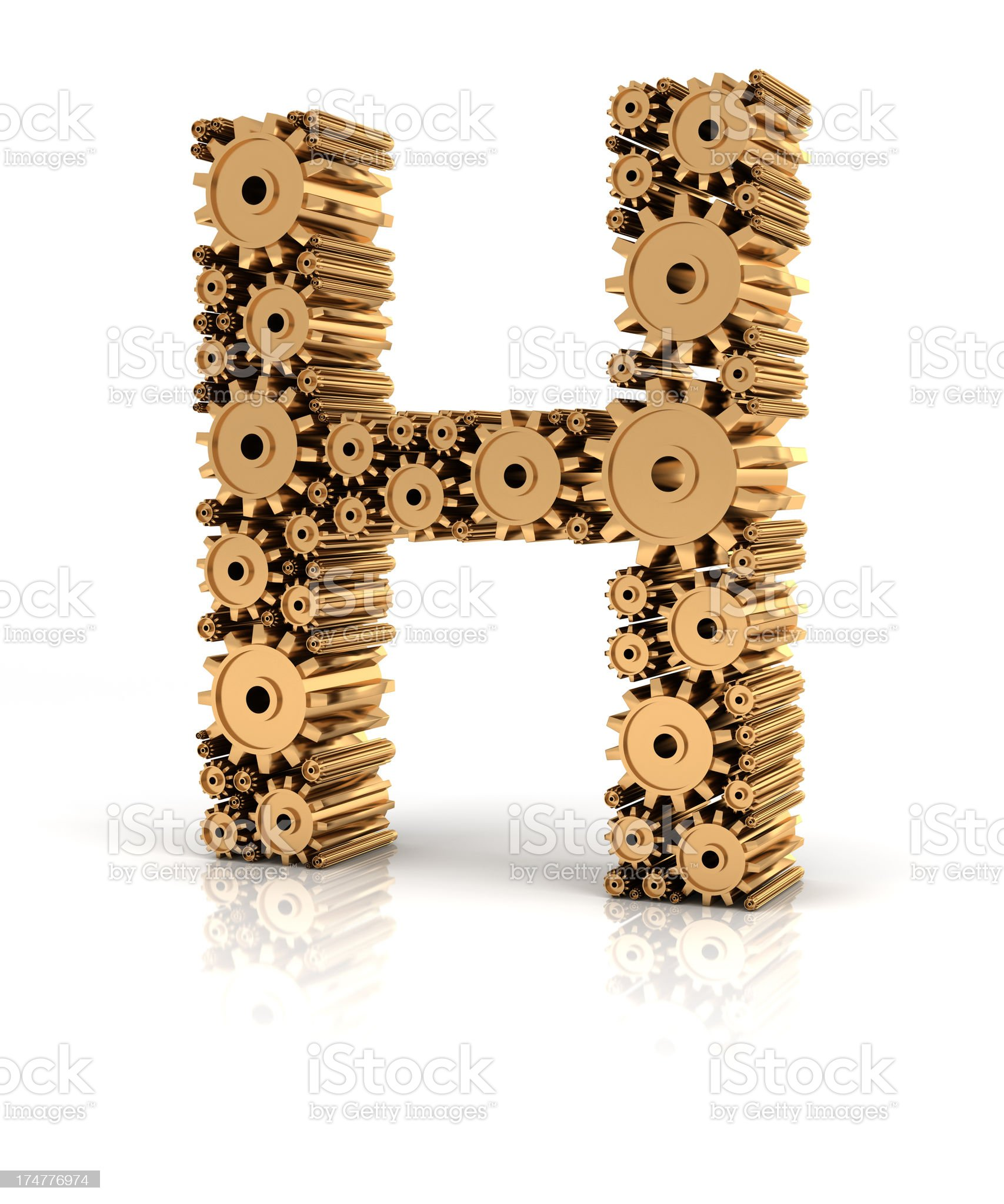 Alphabet H formed by gears royalty-free stock photo