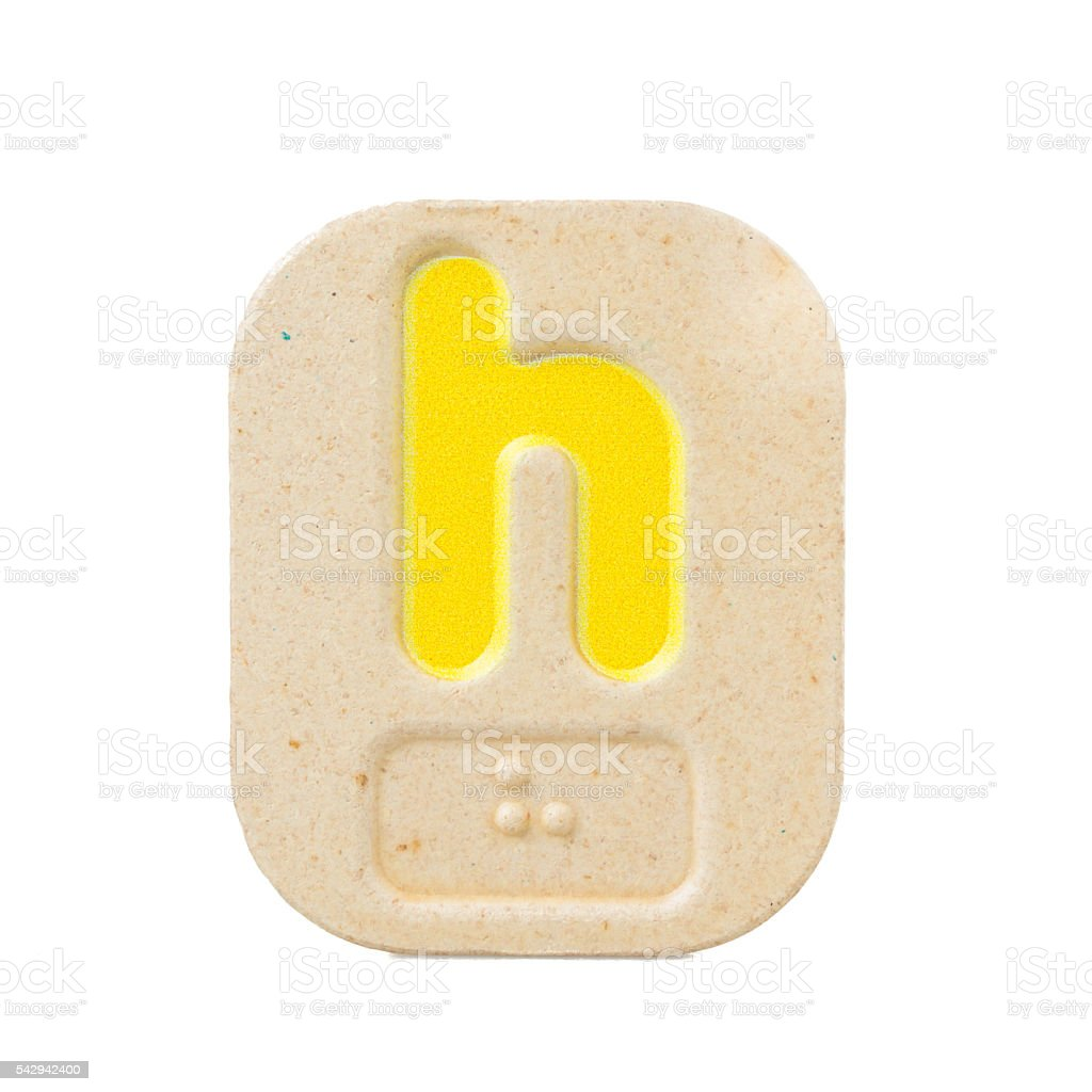 alphabet h on white background  with Braille stock photo