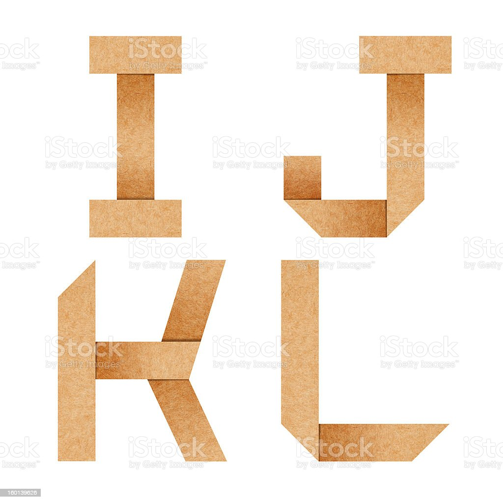 alphabet I,J,K,L Origami paper with clipping path royalty-free stock photo