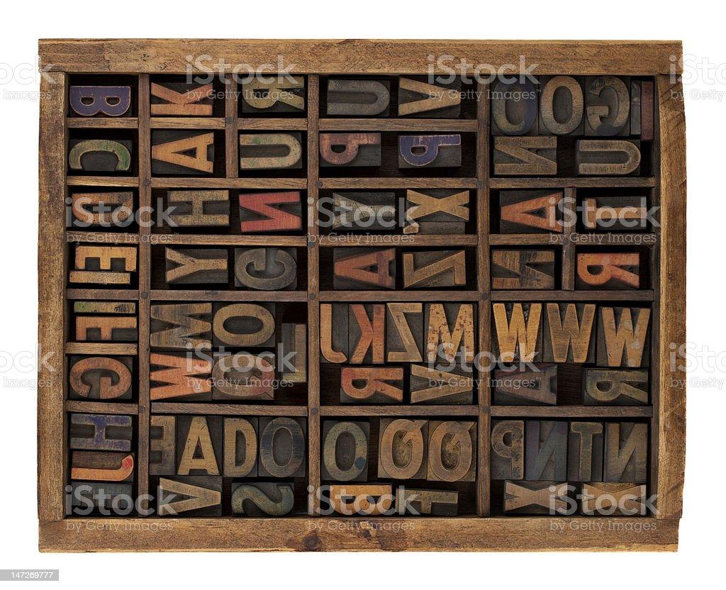 alphabet in antique wood letterpress types stock photo