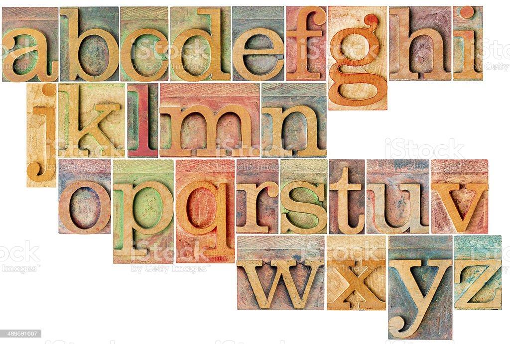 alphabet in letterpress  wood type stock photo