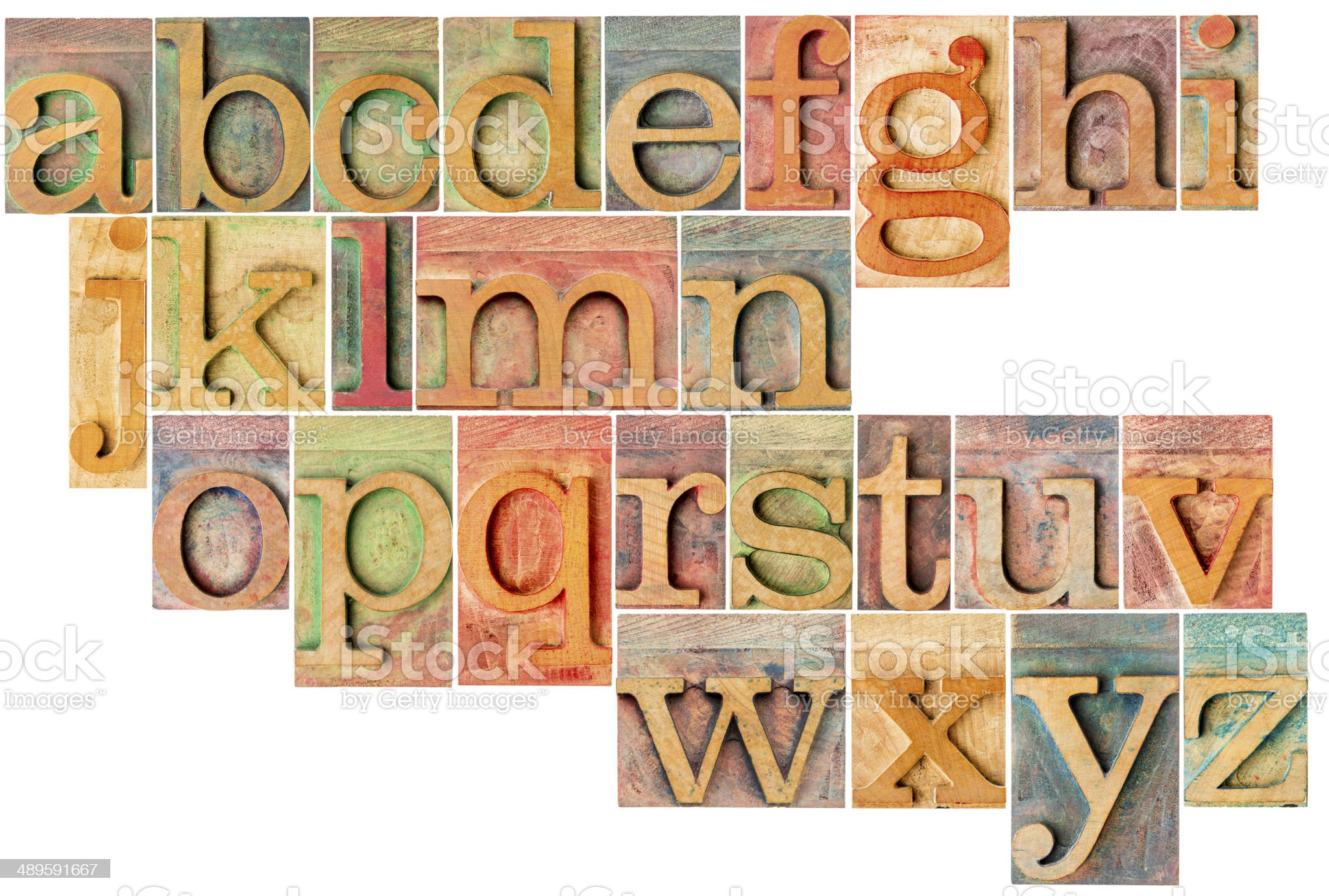 alphabet in letterpress  wood type royalty-free stock photo
