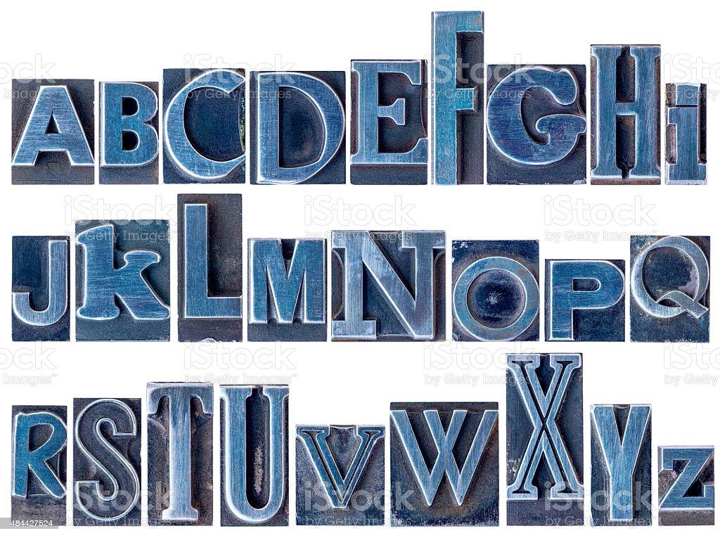 alphabet in mixed letterpress metal type stock photo