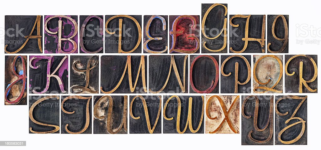 alphabet in ornamental wood type stock photo