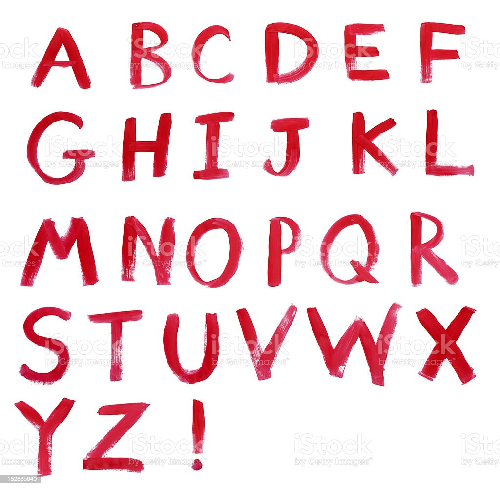 Alphabet in Red Paint on White royalty-free stock photo