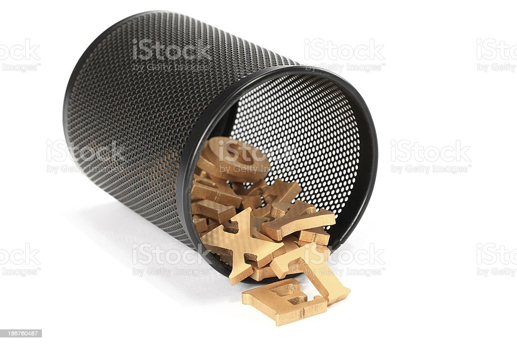 Alphabet in The Trash royalty-free stock photo