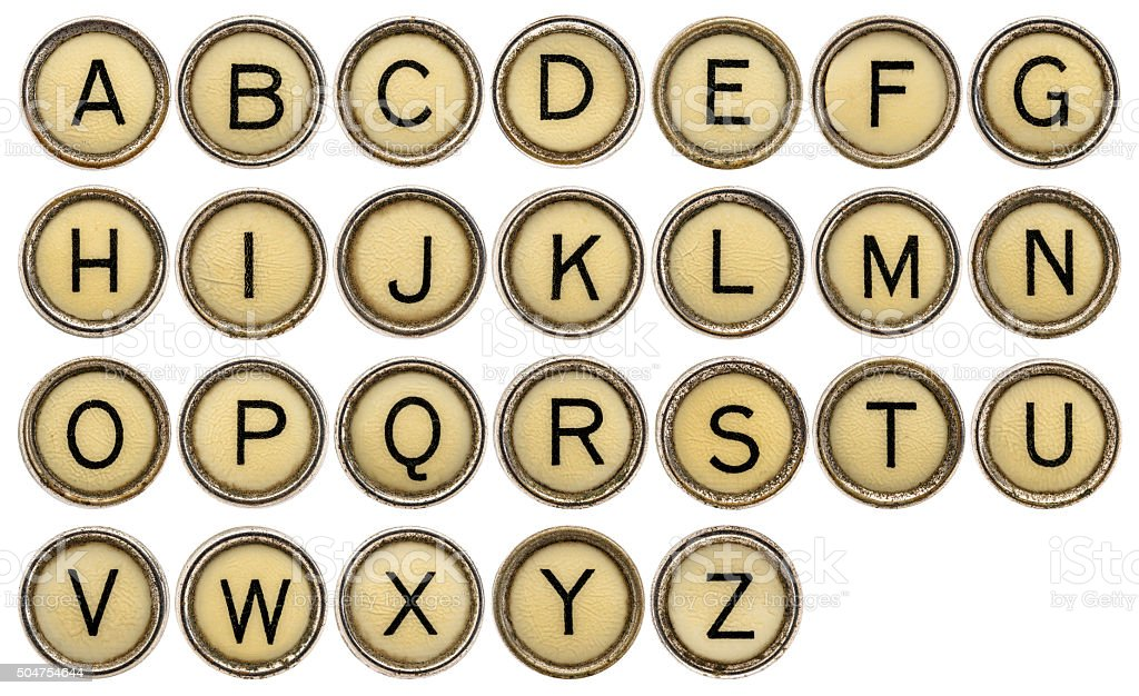 ALphabet in typewriter keys stock photo