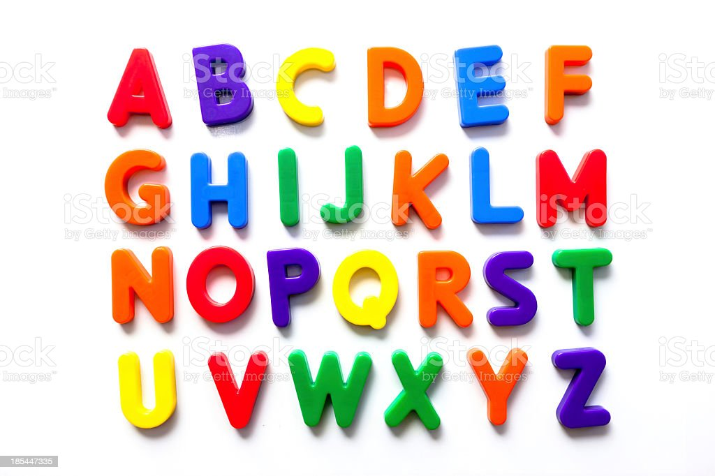 Alphabet in vintage colorful refrigerator magnets stock photo
