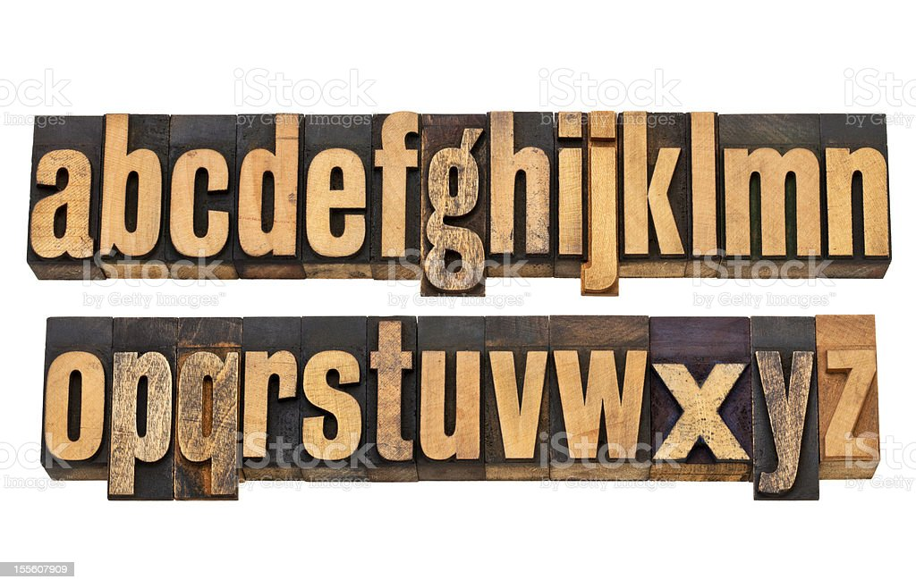 alphabet in vintage wood type stock photo