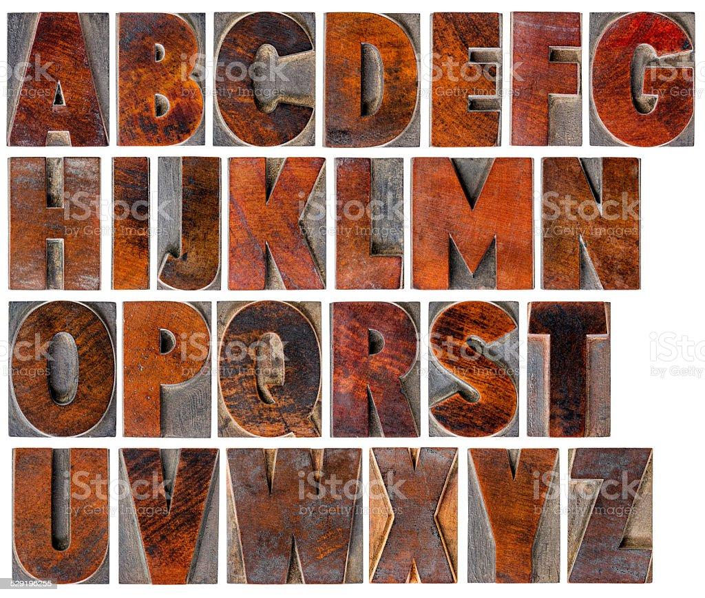alphabet in vintage wood type stock photo