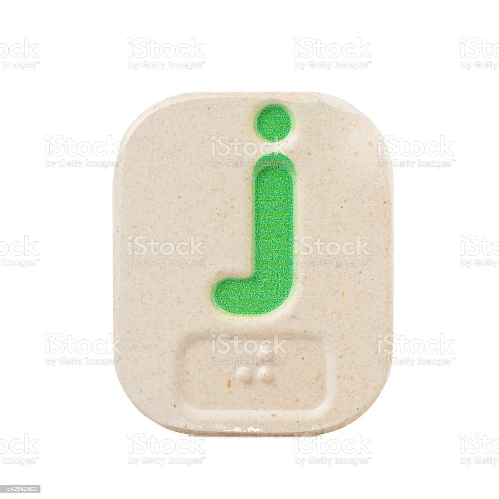 alphabet j on white background  with Braille stock photo