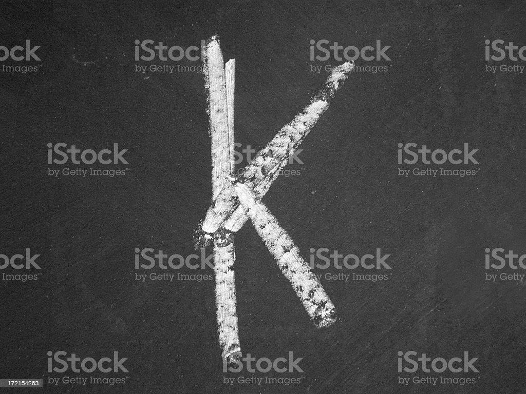 alphabet - K - Chalk royalty-free stock photo