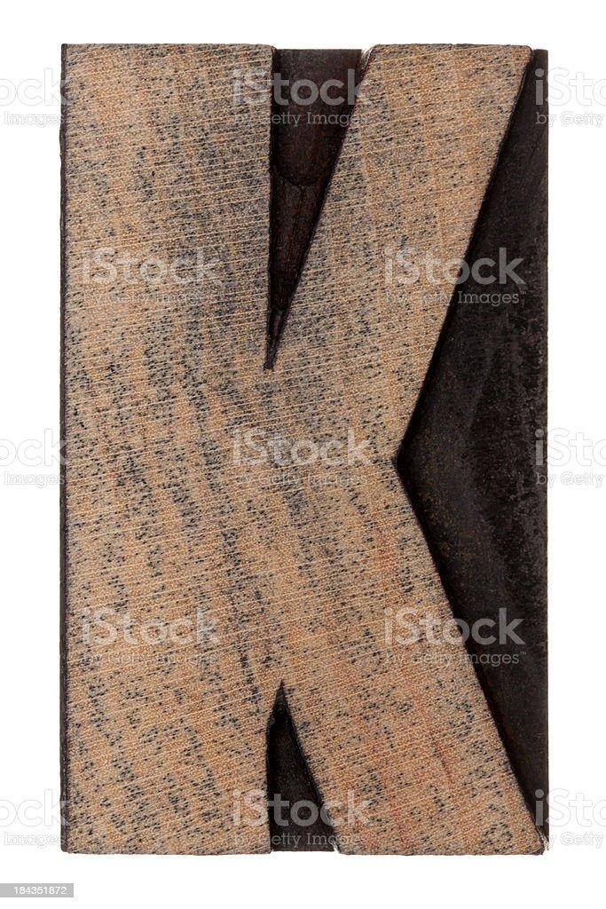 Alphabet K - Letterpress letter royalty-free stock photo