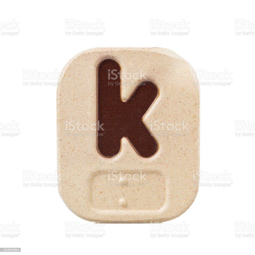 alphabet k on white background  with Braille stock photo