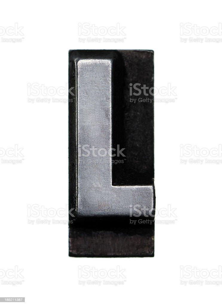 Alphabet L - Letterpress letter royalty-free stock photo