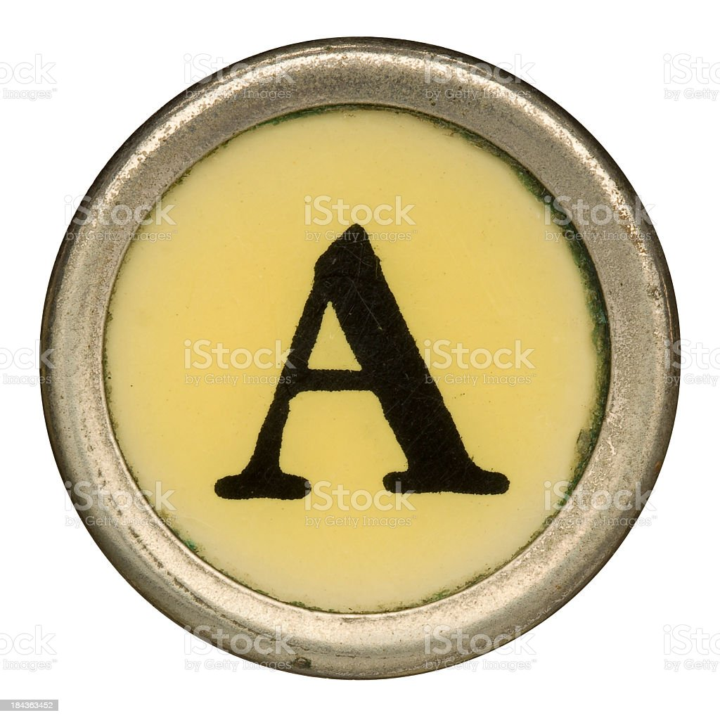 Alphabet - Letter A from an old Manual Typewriter. royalty-free stock photo