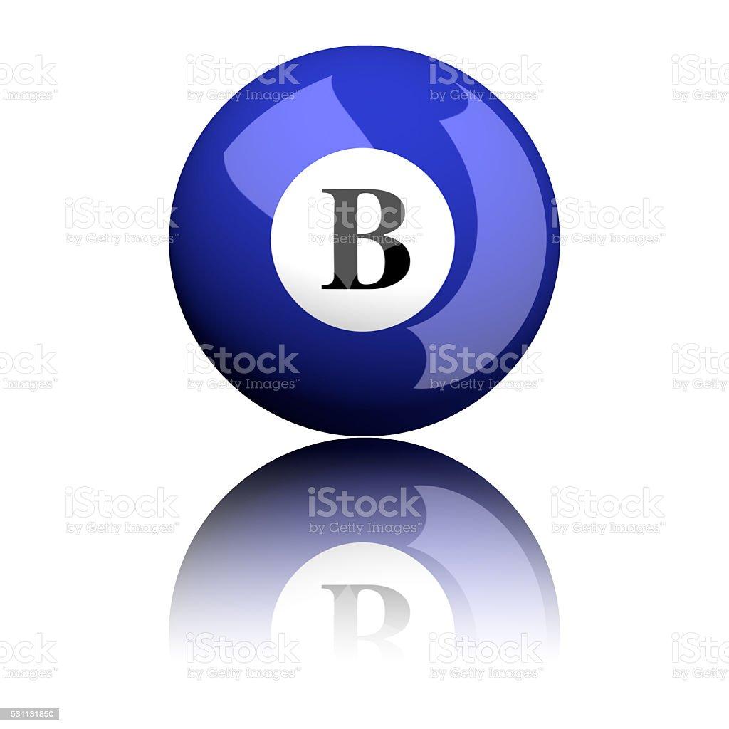 Alphabet Letter B Sphere 3D Rendering stock photo