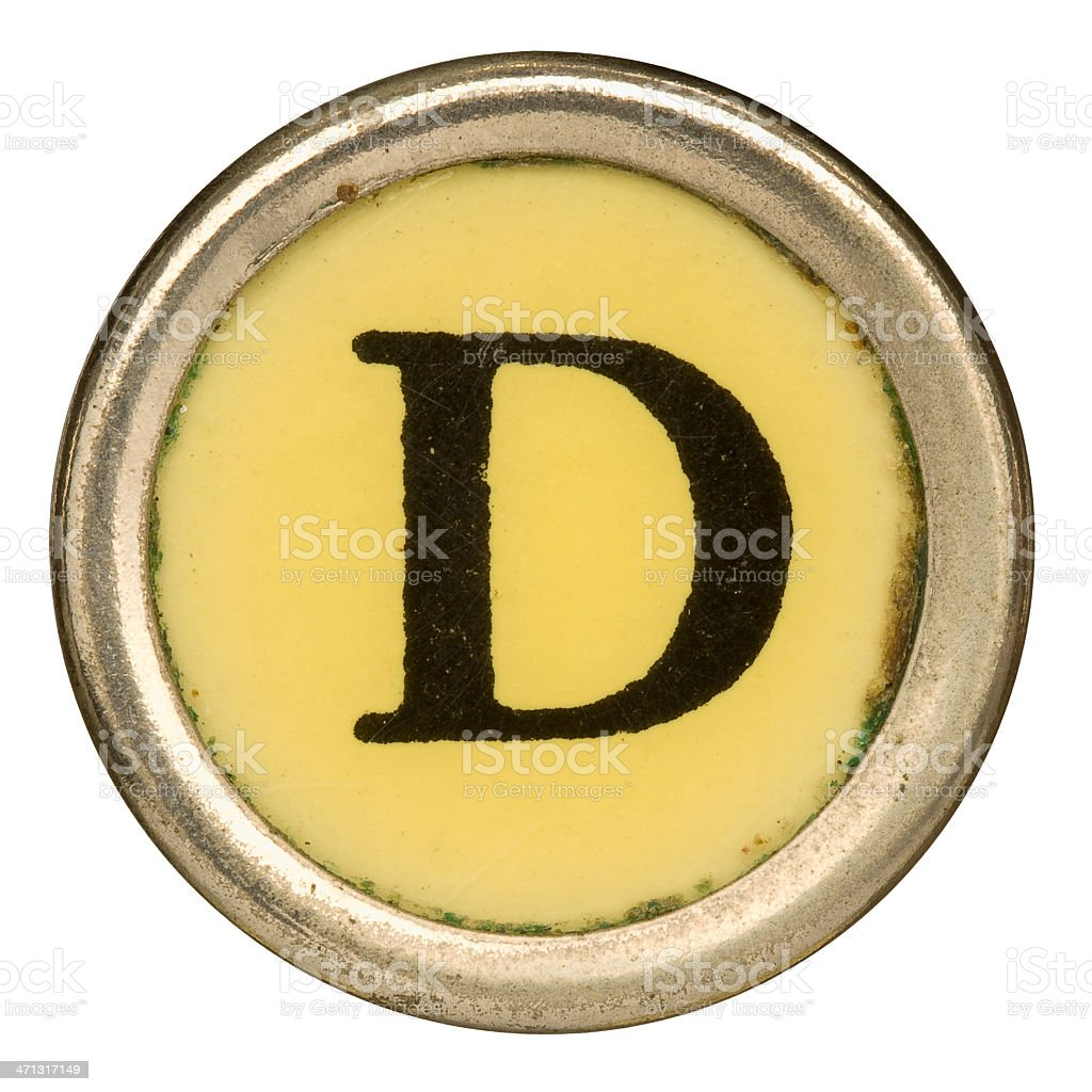 Alphabet - Letter D from old Manual Typewriter. royalty-free stock photo