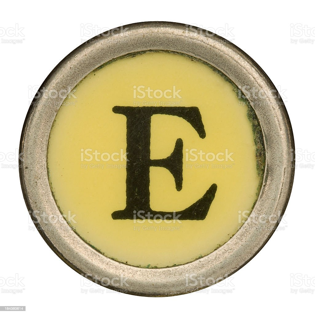 Alphabet - Letter E from old Manual Typewriter. royalty-free stock photo
