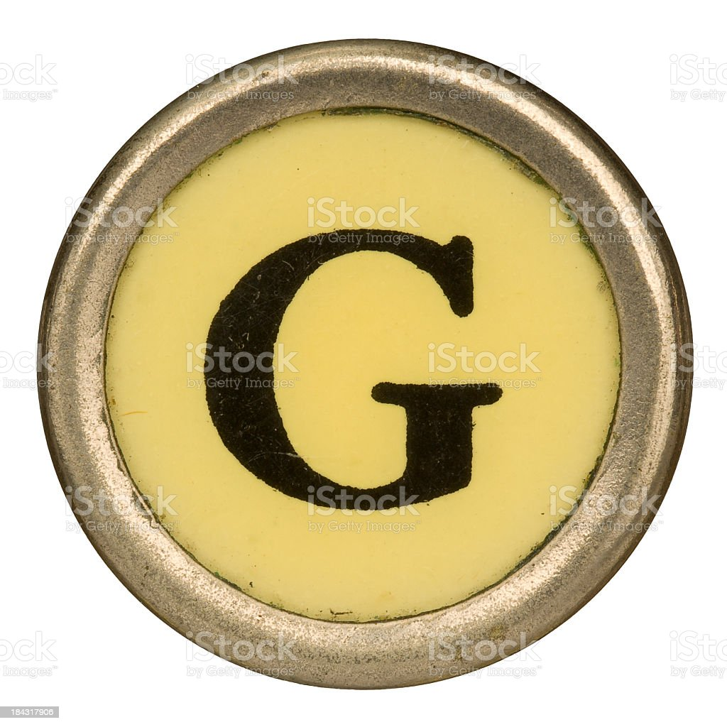 Alphabet - Letter G from old Manual Typewriter. stock photo