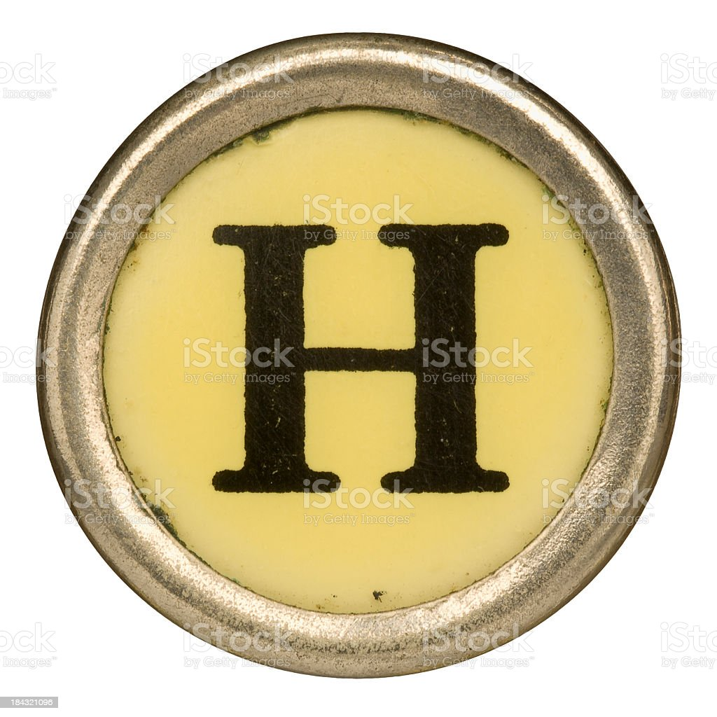 Alphabet - Letter H from old Manual Typewriter. royalty-free stock photo
