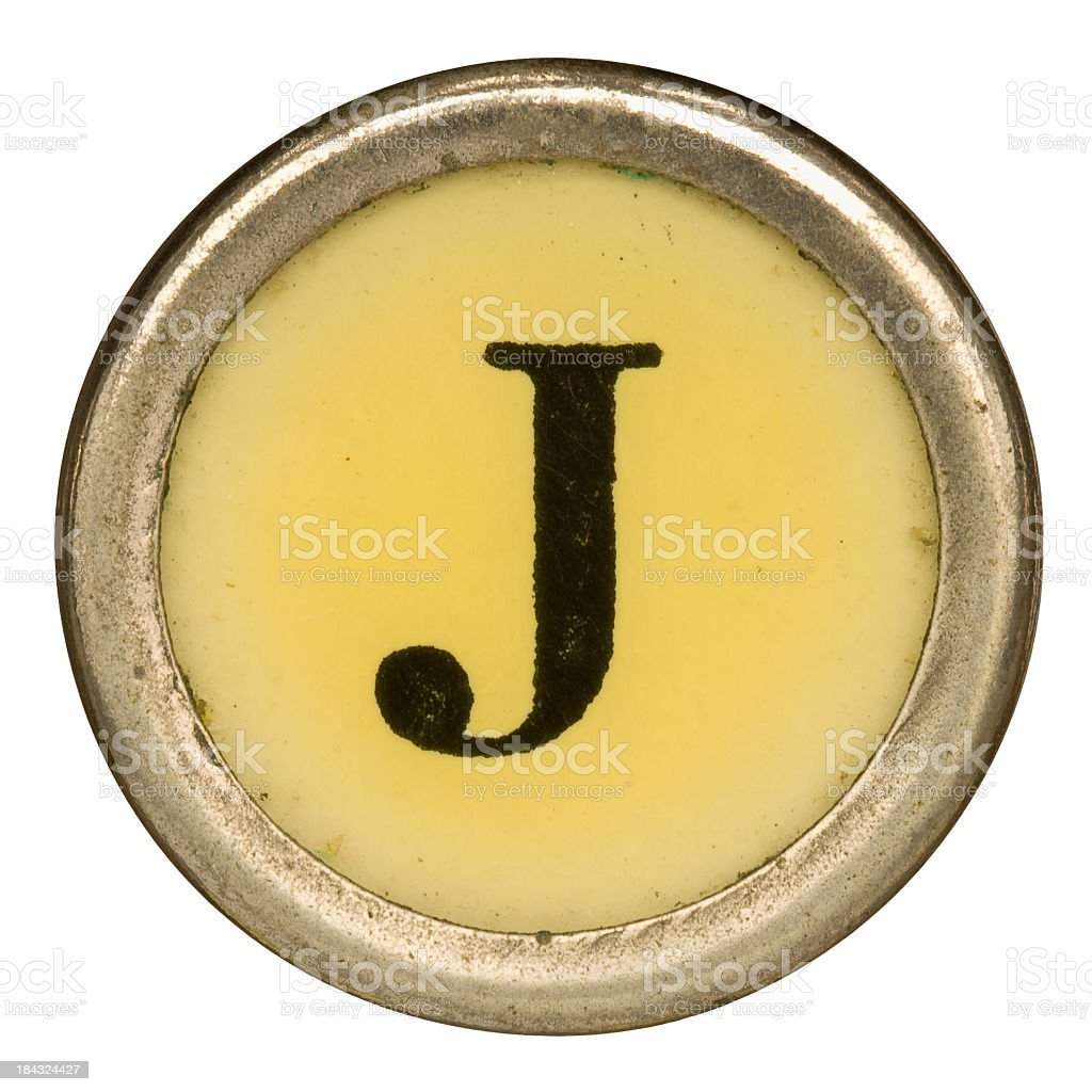 Alphabet - Letter J from old Manual Typewriter. stock photo