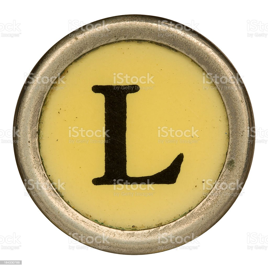 Alphabet - Letter L from old Manual Typewriter. royalty-free stock photo