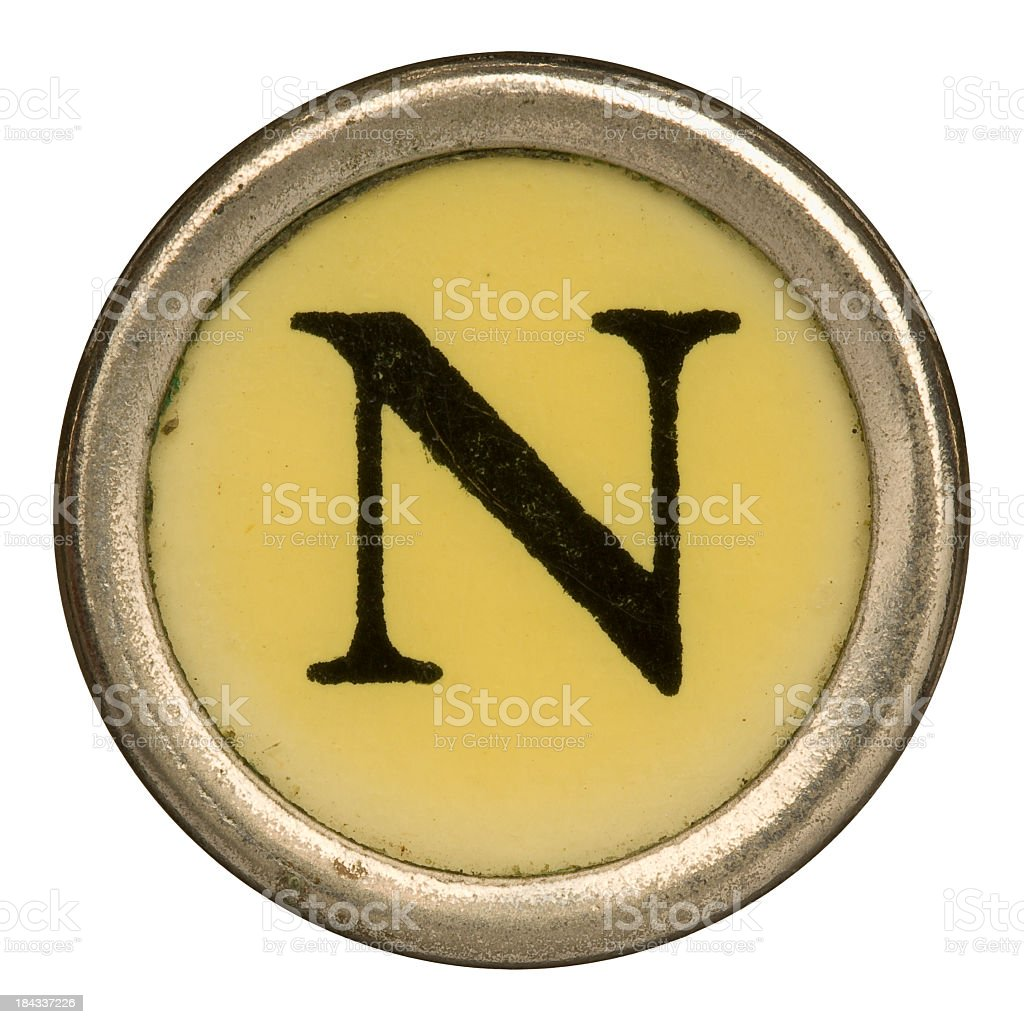 Alphabet - Letter N from old Manual Typewriter. royalty-free stock photo
