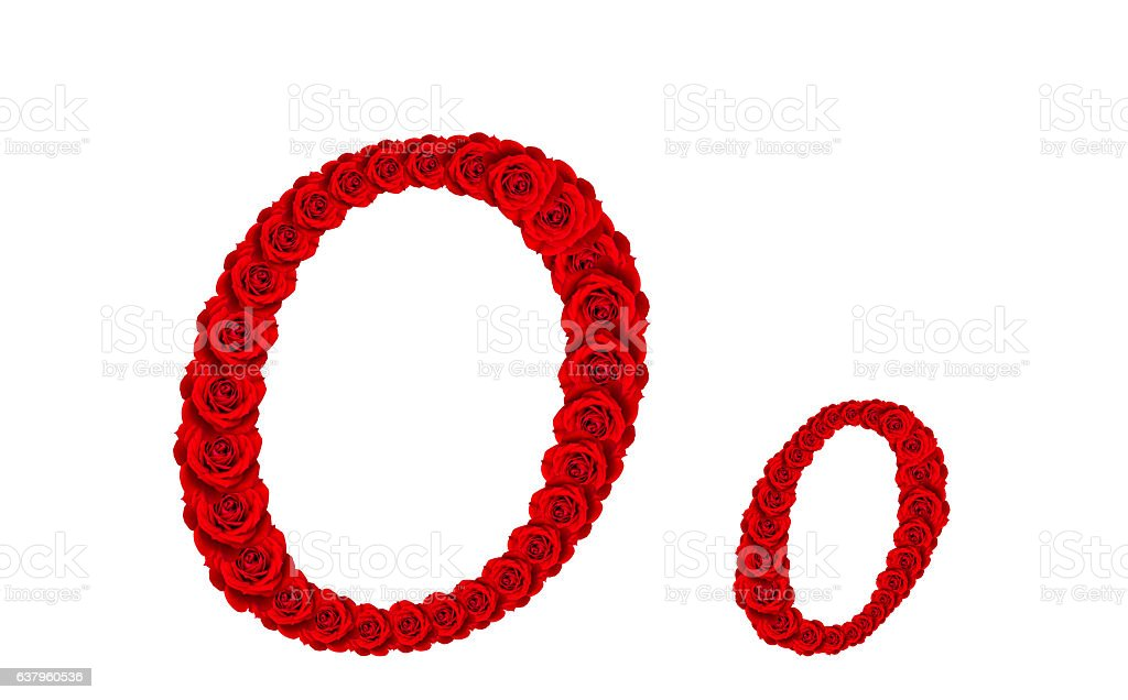 Alphabet letter O and o made from red rose blossoms stock photo