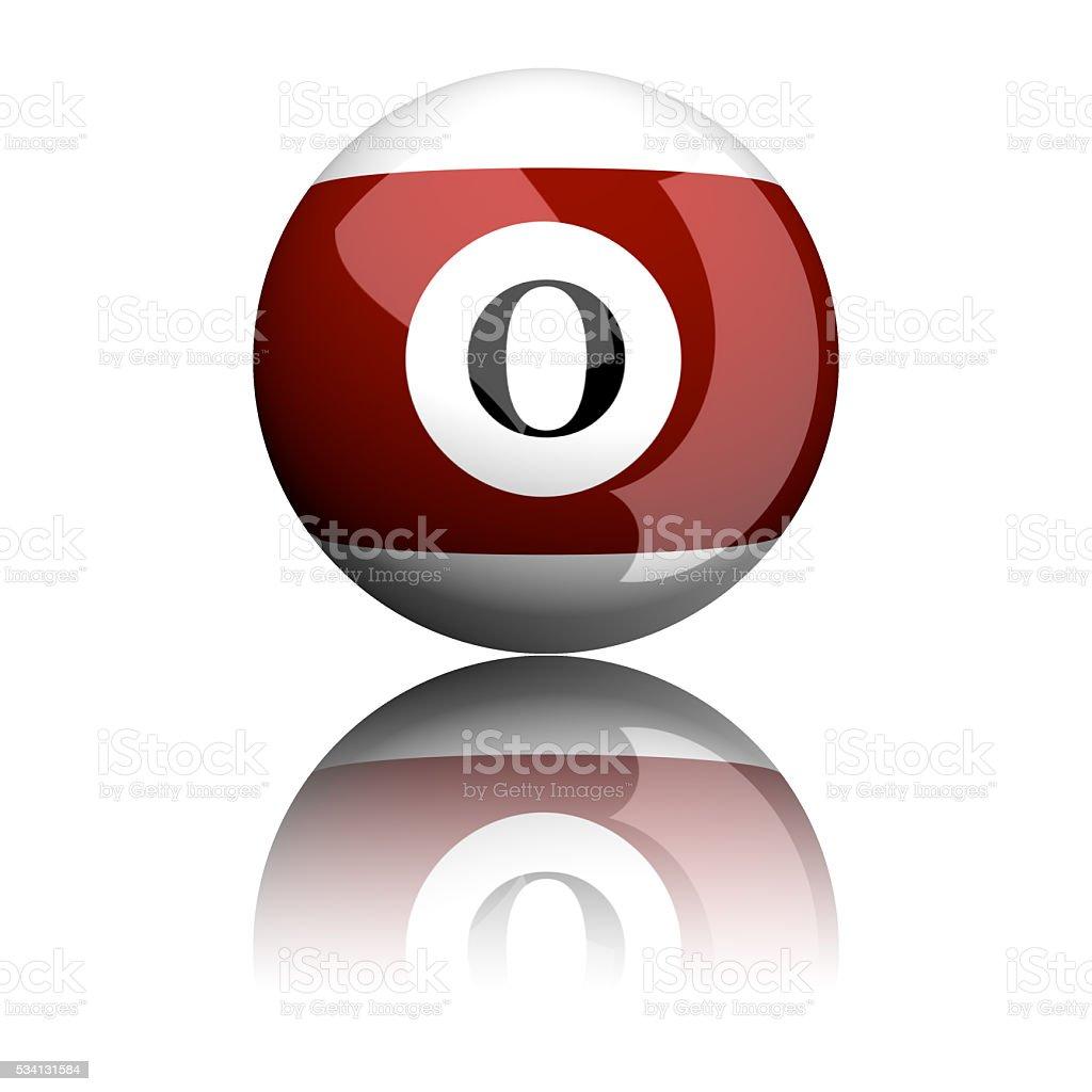 Alphabet Letter O Sphere 3D Rendering stock photo