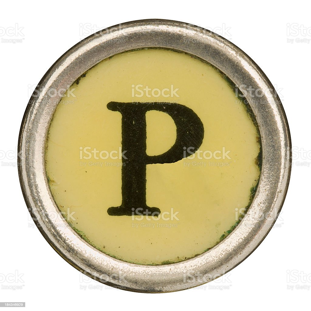 Alphabet - Letter P from old Manual Typewriter. royalty-free stock photo