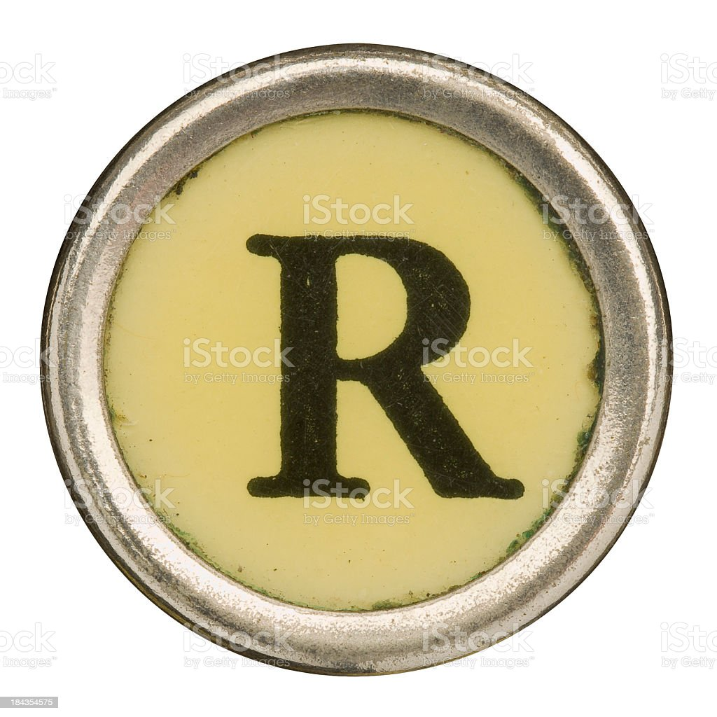 Alphabet - Letter R from old Manual Typewriter. royalty-free stock photo
