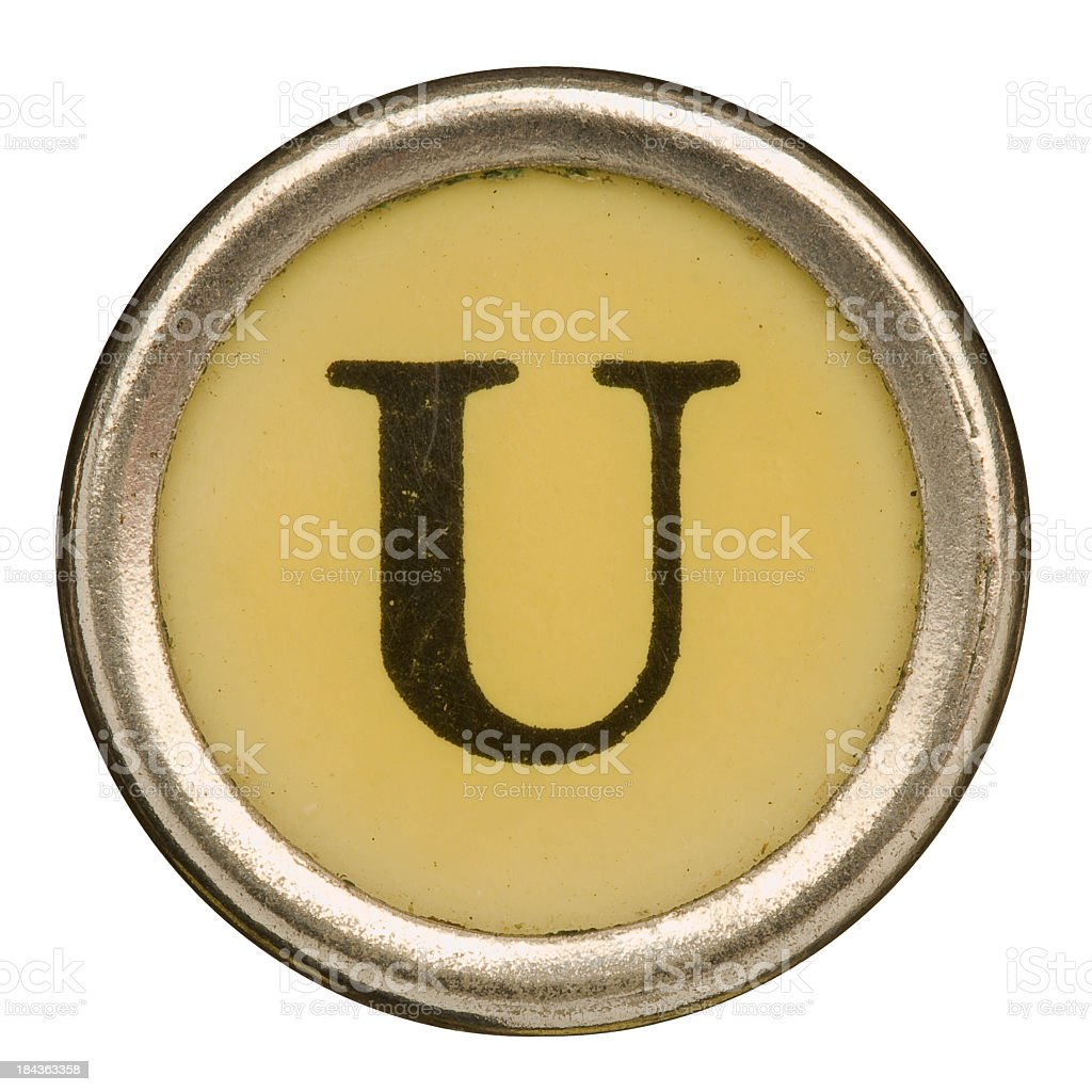 Alphabet - Letter U from old Manual Typewriter. royalty-free stock photo
