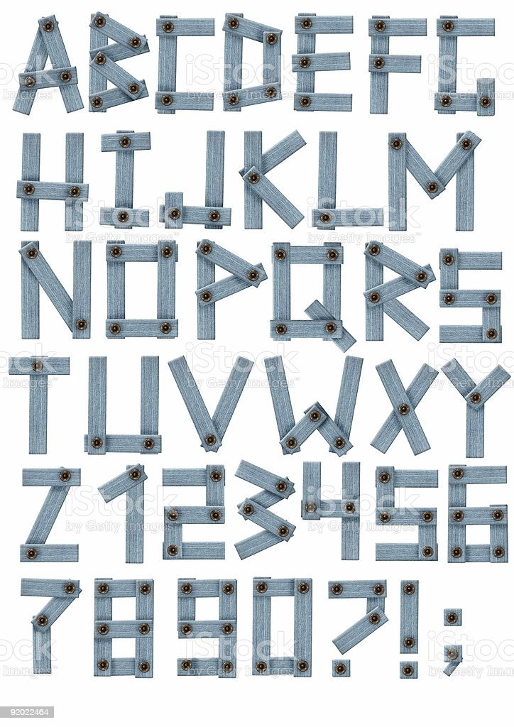 Alphabet - letters from a jeans fabric royalty-free stock photo